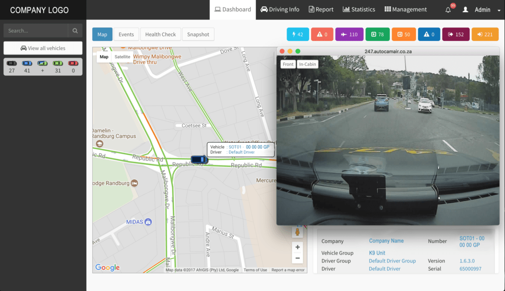Autocam AIR FMS-Dashboard